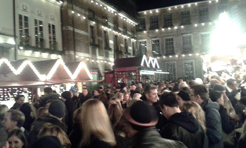 Busy Dusseldorf Christmas Market Square