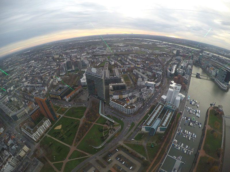 Rhine Sky Tower views of Dusseldorf German Christmas Market Trips